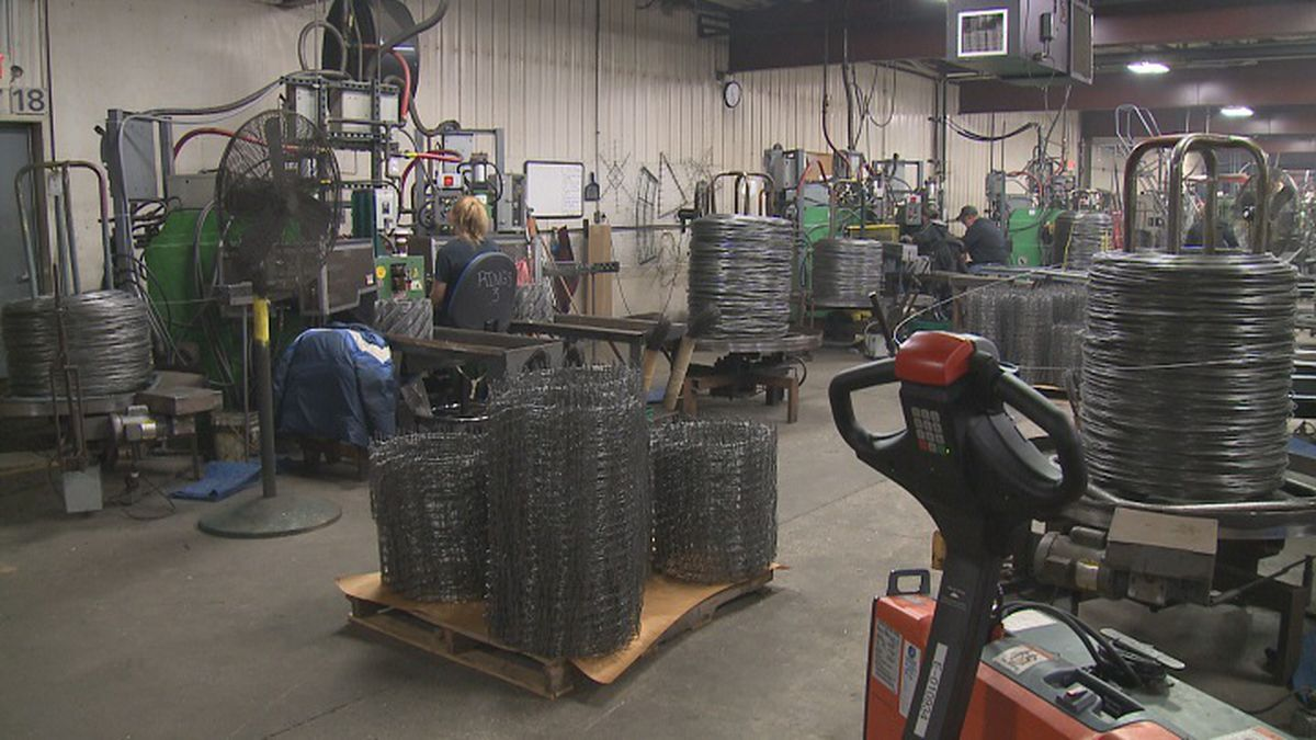 Production floor of the wreath ring department at Mitchell Metal Products (WSAW photo)