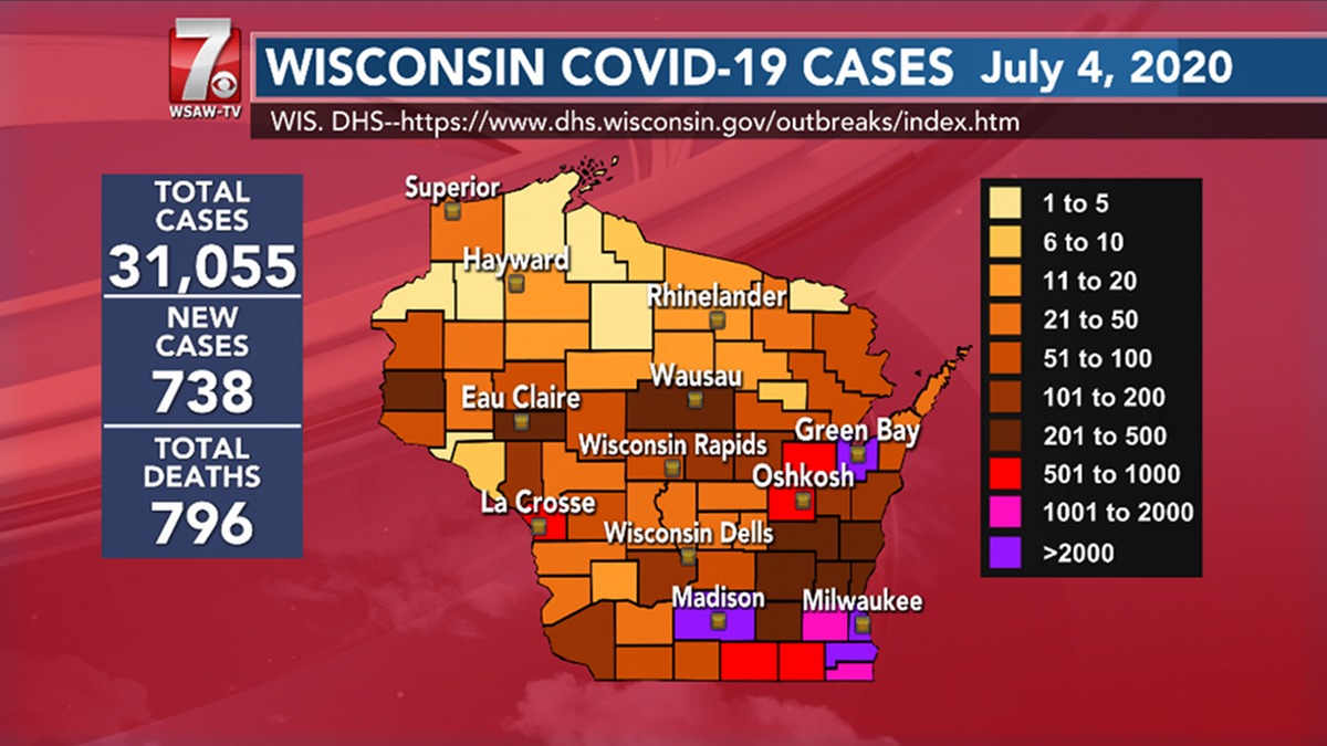WSAW state COVID-19 map for July 4.