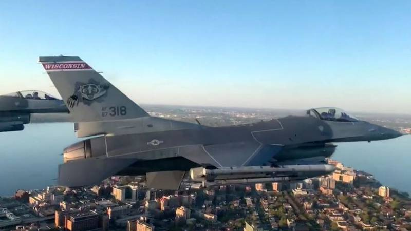 The four F-16s flying over downtown Madison (Source: WI Air National Guard video)