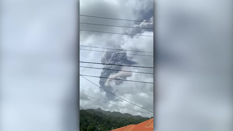 This photo shows a volcanic eruption on St. Vincent on Friday.