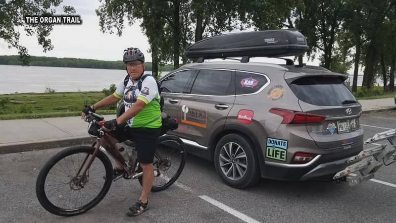Mark Scotch hopes to arrive in Natchitoches, Louisiana, by Sunday, May 16. He has been biking...
