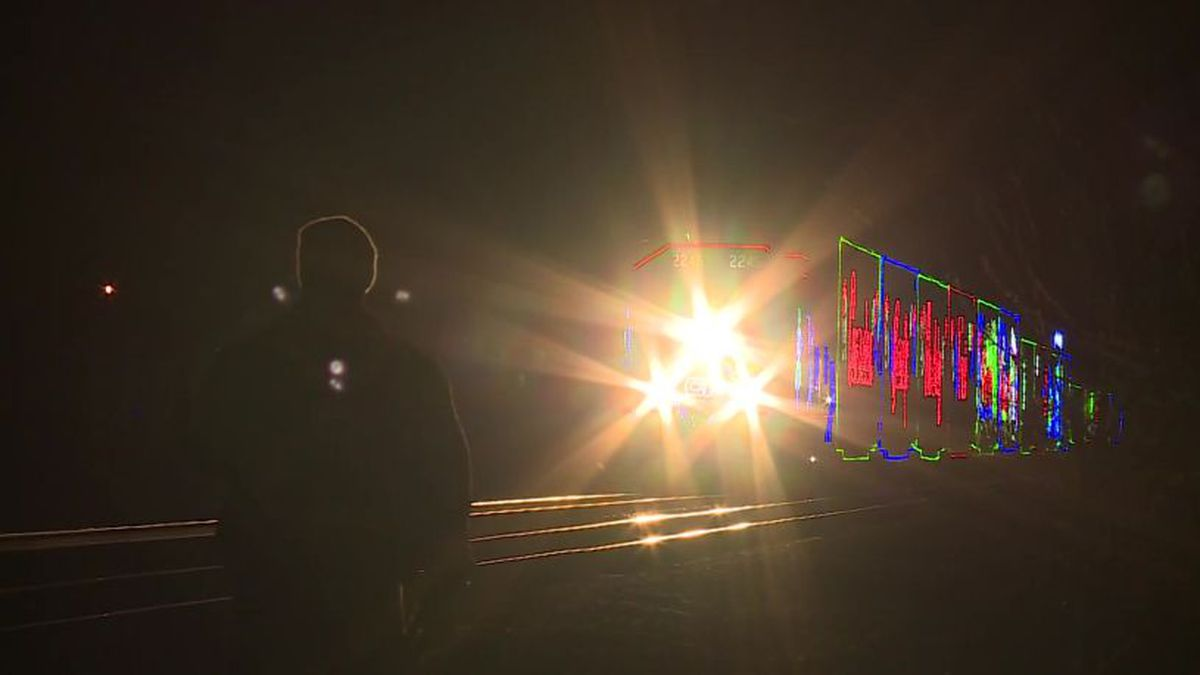 The Holiday Train approaching Columbus, Wis. on Tuesday.