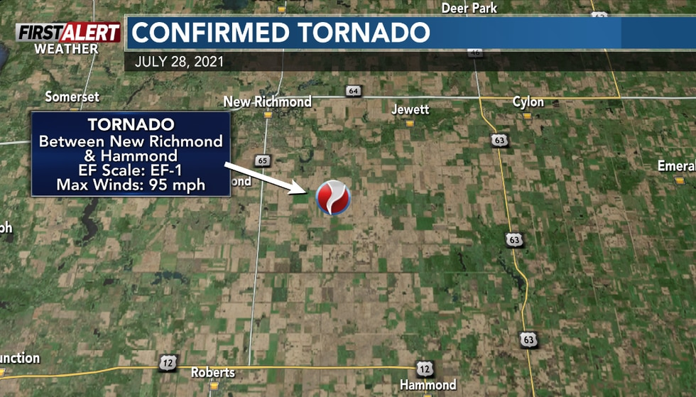 One tornado was confirmed in St. Croix County from storms on Wednesday.