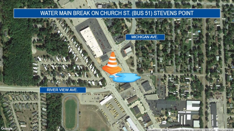 Crews are working to repair a water main break in Stevens Point on Business 51.