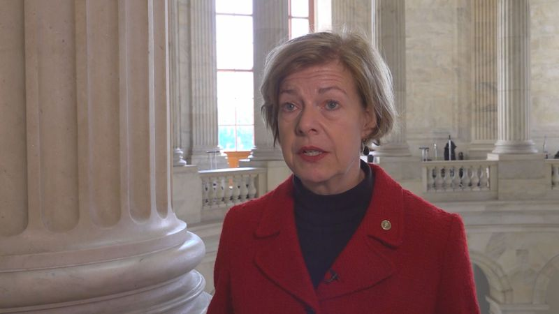 Sen. Tammy Baldwin (D-Wisconsin) gives remarks on coronavirus funding. March 3, 2020.