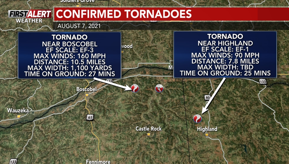 Two tornadoes were confirmed in SW Wisconsin on Saturday.