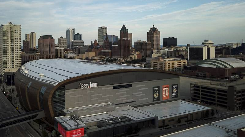 Fiserv Forum is seen Wednesday, July 29, 2020, in Milwaukee. (AP Photo/Morry Gash)