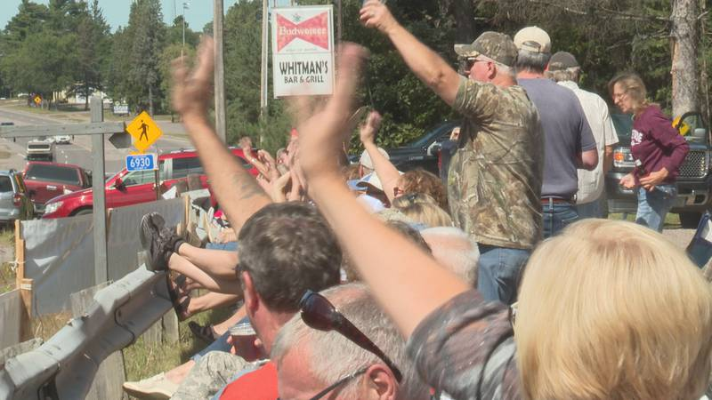 Crowds at Whitman's Bar send-off tourists as they make their way home from their Labor Day...