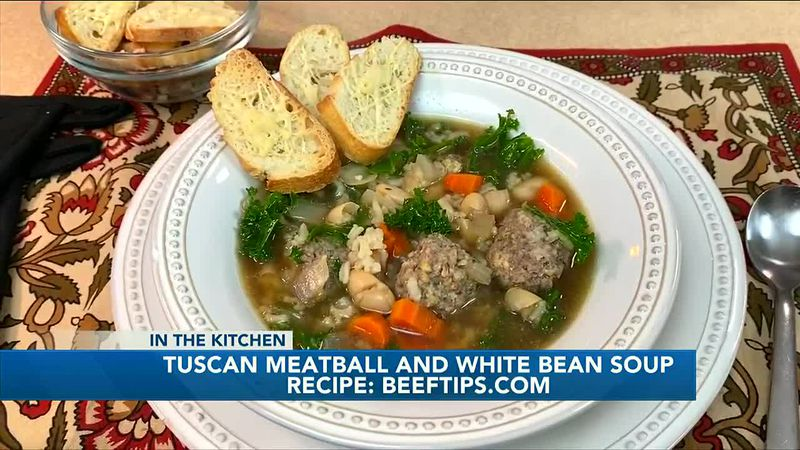 Hearty, nutritious Tuscan meatball and white bean soup recipe