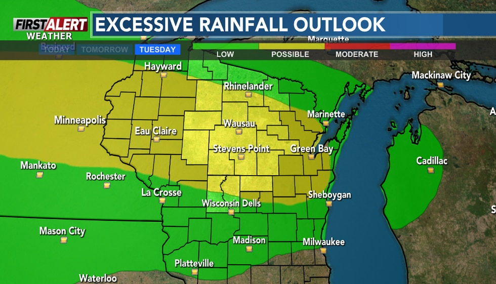 """Rainfall of 1-3"""" could occur from Tuesday afternoon into Tuesday night."""