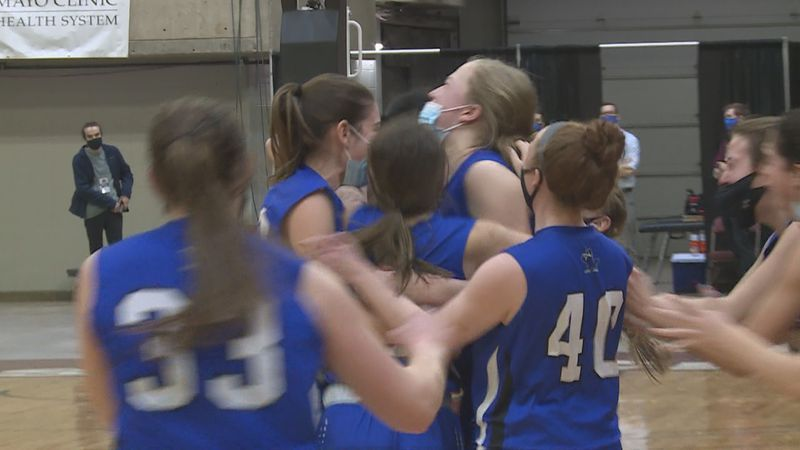 Three Lakes celebrates as a team after knocking off top-seeded Black Hawk in the 5A girls...