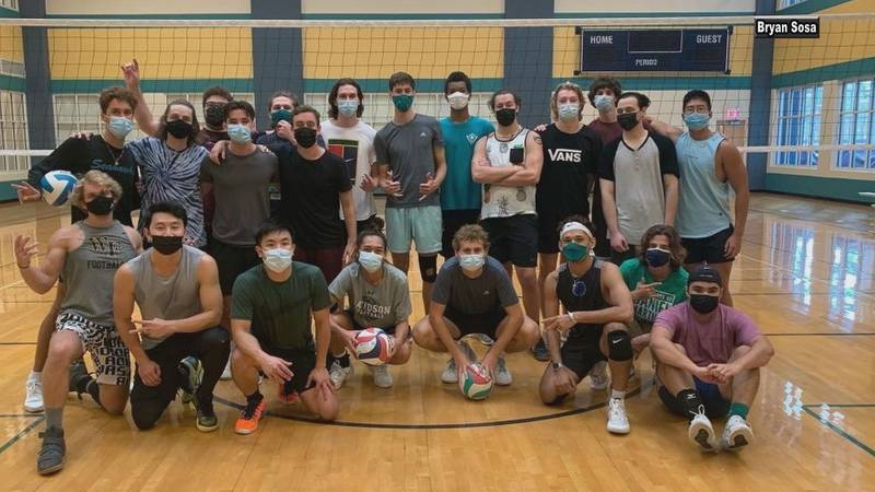 """Marvel's """"Shang-Chi"""" star Simu Liu joined the UNCW men's club volleyball team on the court for..."""
