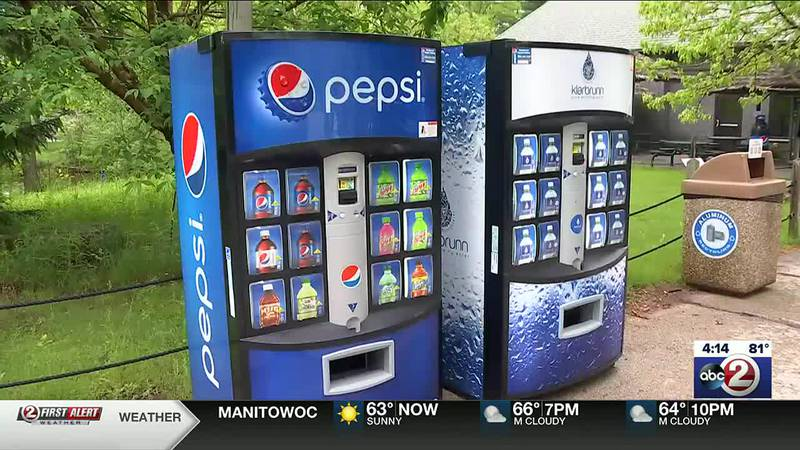Soda and water vending machines at N.E.W. Zoo in Suamico