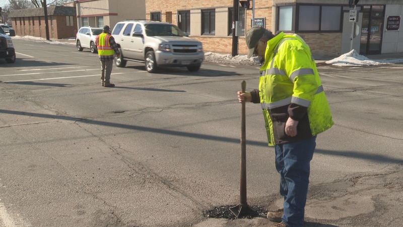 Wausau Public Works is filling in potholes in the area.