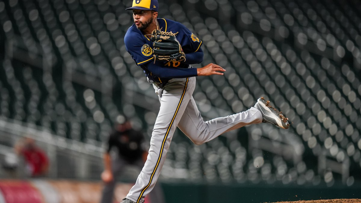 MINNEAPOLIS, MN - AUGUST 18: Devin Williams #38 of the Milwaukee Brewers pitches against the...