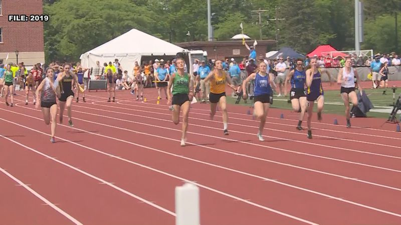 Runners at the WIAA state track and field championships in La Crosse, Wisconsin in June 2019.