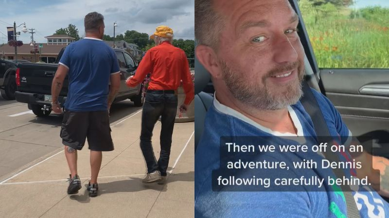 Tracy Eckhardt's video of her and her fiance helping a 79-year-old man on the road has gone...
