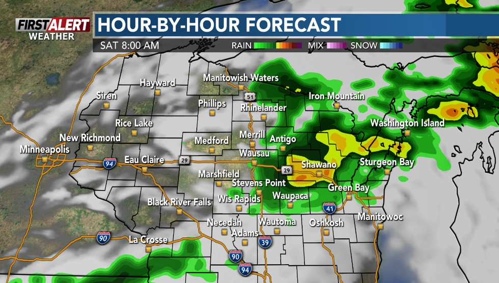 Storms should end by mid-morning.