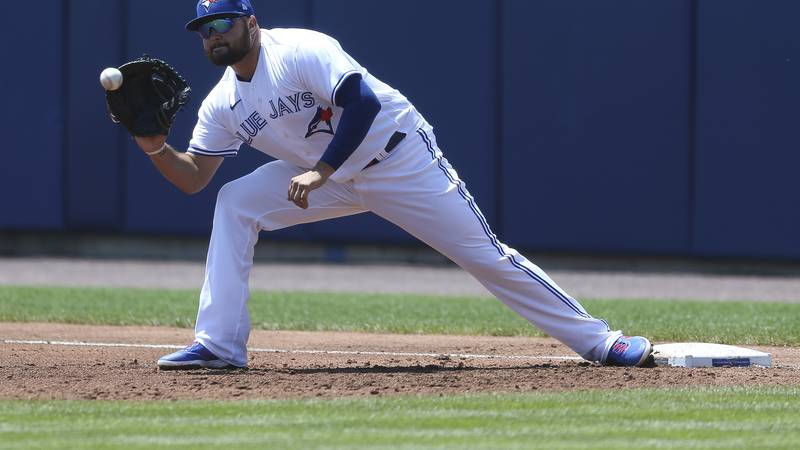 Toronto Blue Jays first baseman Rowdy Tellez makes a catch at first base during the second...