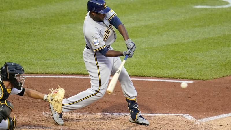 Milwaukee Brewers' Lorenzo Cain doubles off Pittsburgh Pirates starting pitcher Maxz Kranick,...