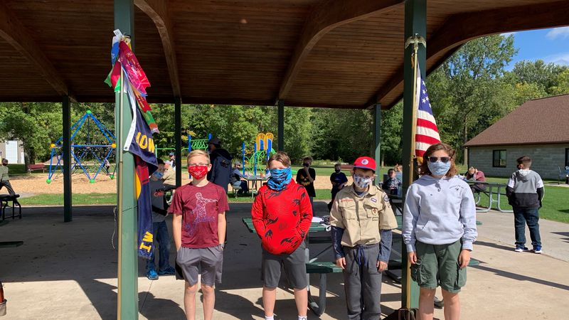 Local boy scouts at a drive-up recruiting event