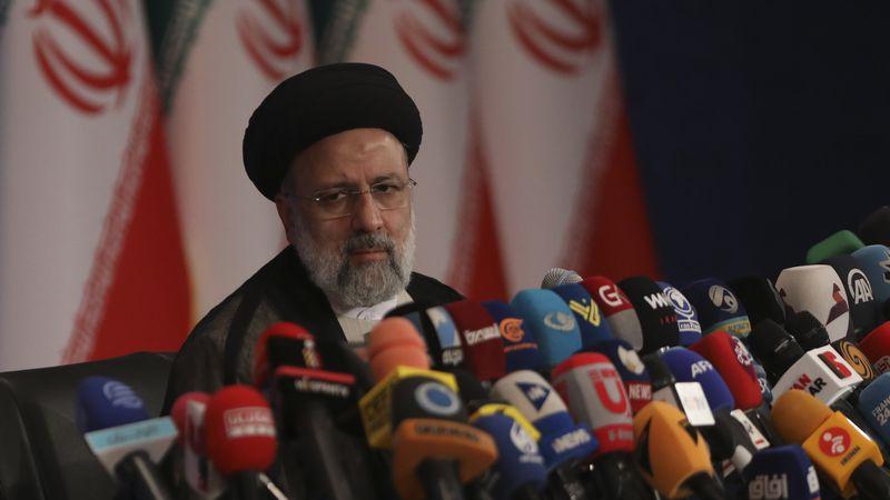 Iran's new President-elect Ebrahim Raisi speaks during a press conference in Tehran, Iran,...