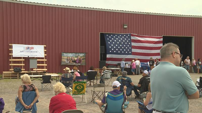 People rallied at Patriot Metals in Marshfield, WI.