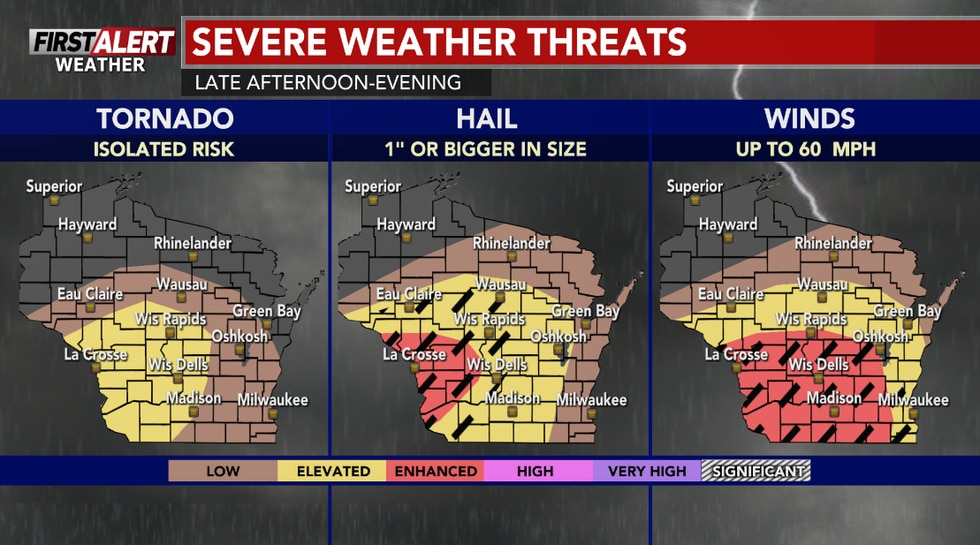 Damaging winds and large hail are the main threats locally with a chance of an isolated tornado...