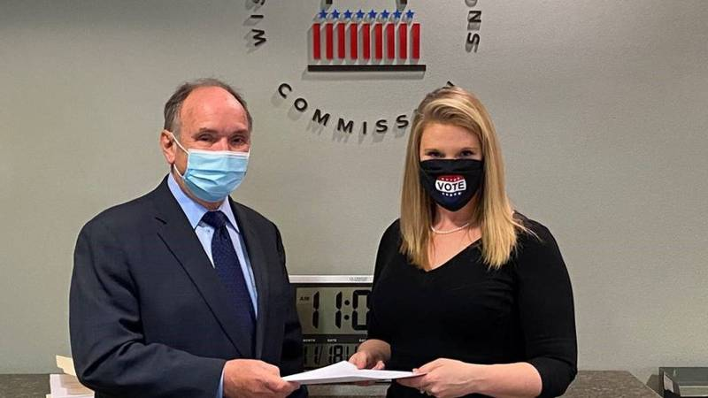 An attorney for the Trump campaign, Jim Troupis, submits the petition for a recount in Dane Co....