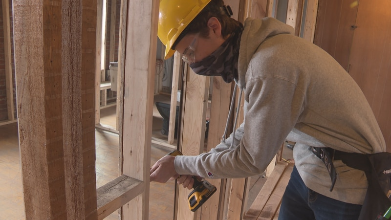 The Merrill building construction class is getting a first-hand look at being on a construction...