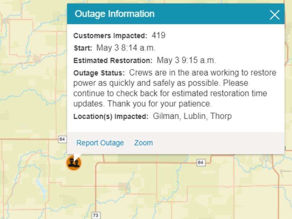 An image from Xcel Energy's outage map displaying information about a power outage on May 3.