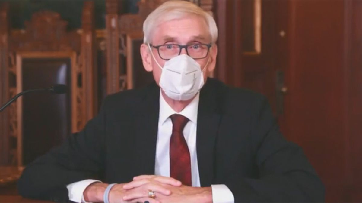Gov. Tony Evers addresses latest COVID-19 numbers during a Dept. of Health Services' news...