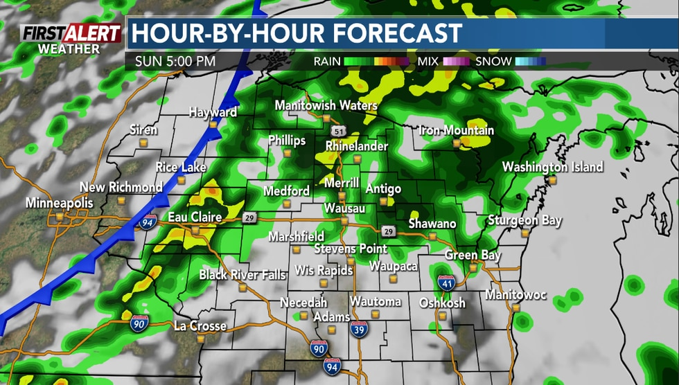 Wet weather is expected Sunday evening.