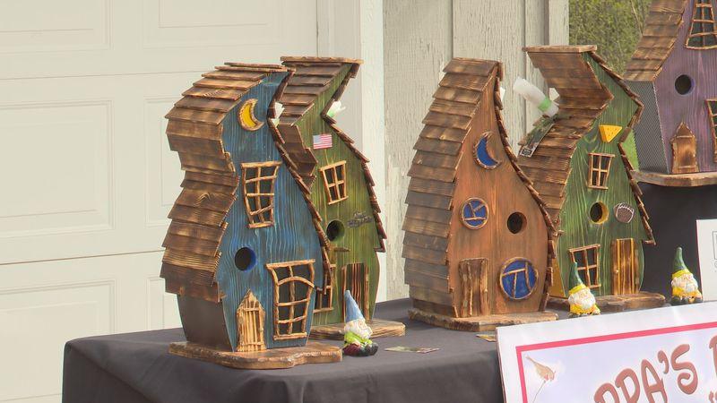 Birdhouses on display at Highground Veterans Memorial Park