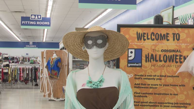 Mannequin dressed in costume idea at Goodwill Weston