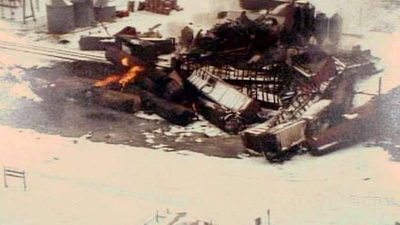 An aerial shot of the train derailment in Weyauwega in March, 1996