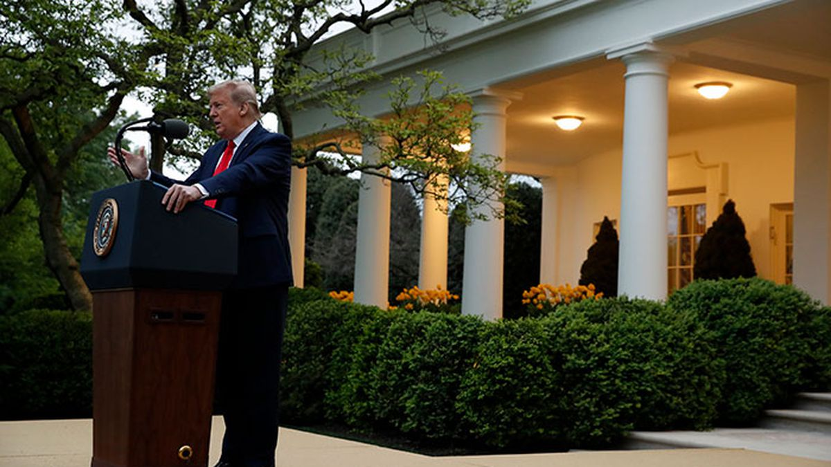 President Donald Trump speaks about the coronavirus in the Rose Garden of the White House, Tuesday, April 14, 2020, in Washington. (AP Photo/Alex Brandon)