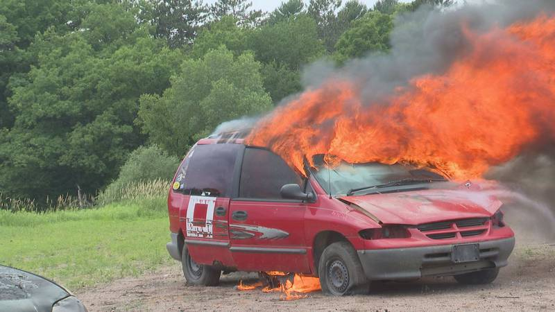 Wausau Fire Department car fire training