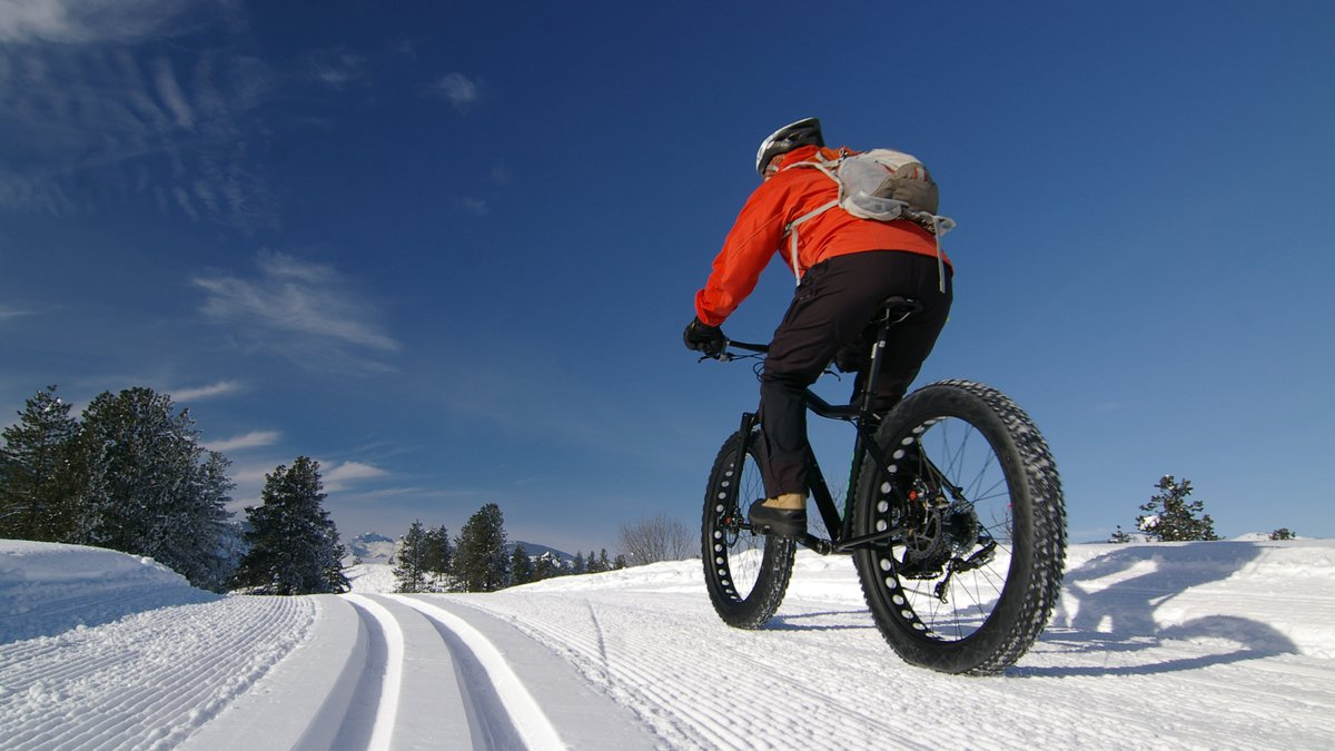 A blue sky day, great for riding the fat bike on the groomed ski trail.