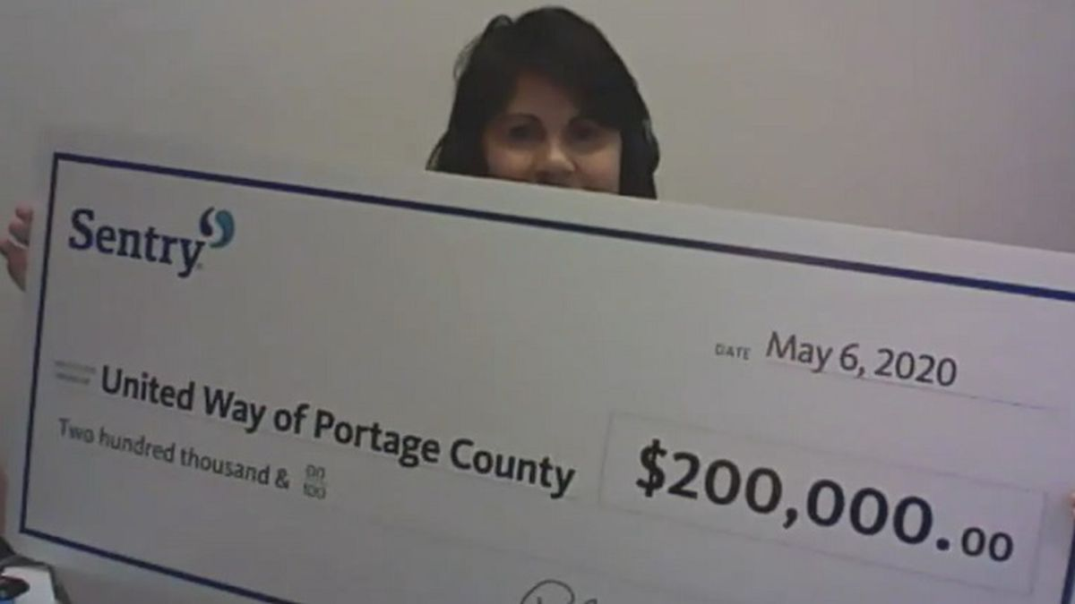 Sentry Insurance donated $200,000 to the United Way of Portage County.