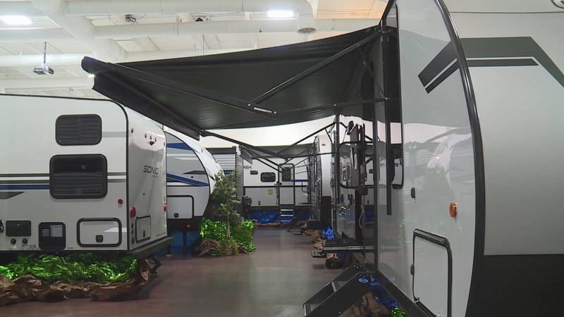 The indoor/outdoor show features RV's, campers, motorhomes, and camping equipment from a...