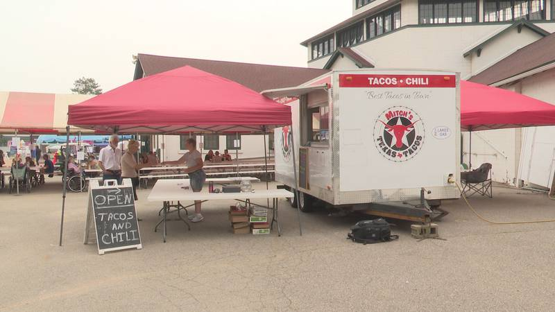 People enjoy food trucks at the Wisconsin Valley Fair
