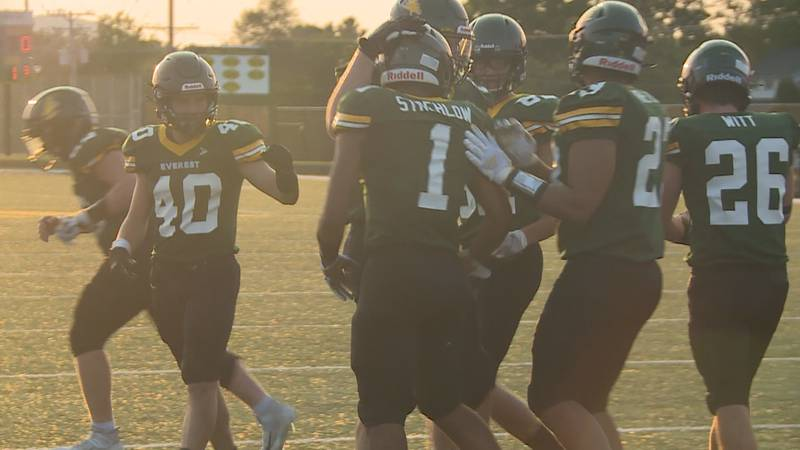 D.C. Everest running back Ty Strehlow after scoring a touchdown in the Evergreens' 42-20 win...