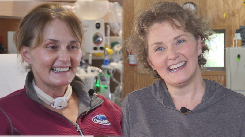 Becky Heuer from Amherst, Wis. was hospitalized for COVID-19 in Oct. 2020. One year later, she...