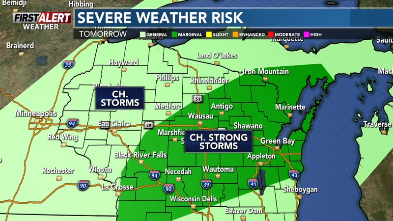 Scattered afternoon storms could be strong on Memorial Day.