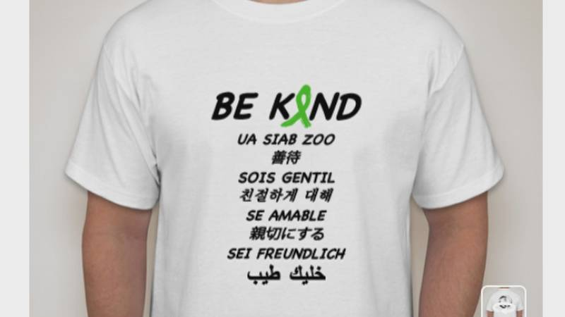 The t-shirts, plastered with the words 'be kind' in nine different languages are $20 and work...