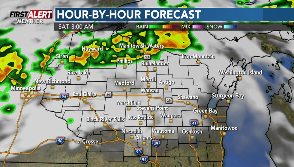 Storms will start to move across the Northwoods overnight.