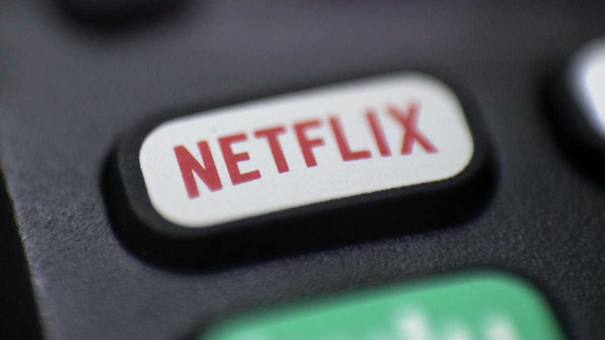 This Aug. 13, 2020, photo shows a logo for Netflix on a remote control in Portland, Ore....