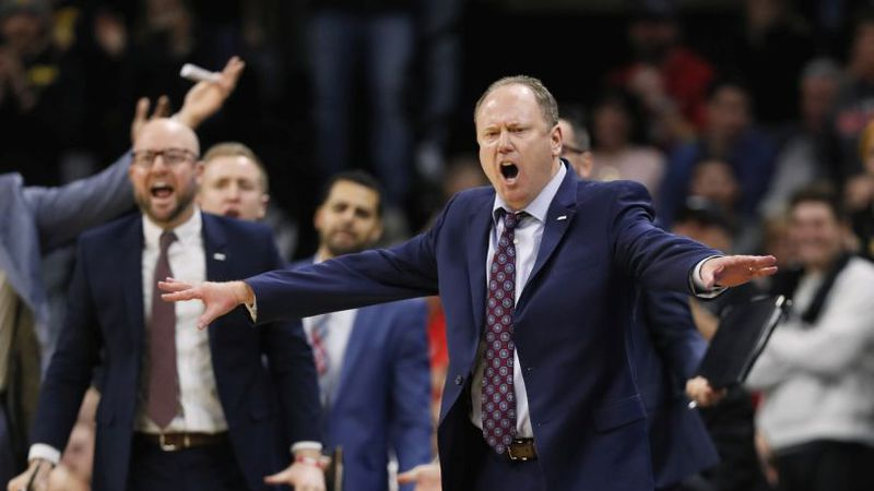 Wisconsin head coach Greg Gard reacts to a call against his team during the second half of an...