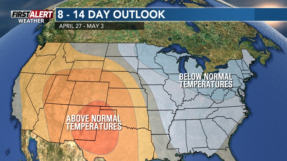 Staying mainly below normal for temps through early May
